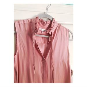 FRAME pink silk ruffle neck button down